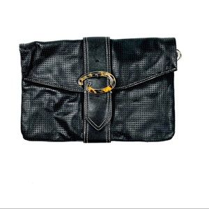 Oscar De La Renta Black Leather Clutch EUC